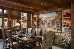 dining room of timber frame home with Roger Nelson fresco