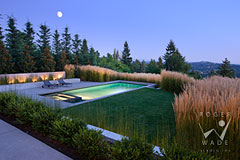 contemporary landscaped terrace and pool at twilight, architectural digest photographer