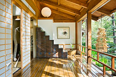 japanese engawa with stairway cabinet and soji screen doors, architectural digest photographer
