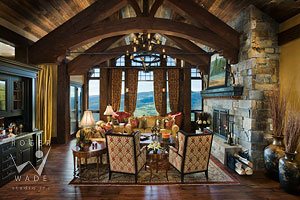 luxury living room of rustic timber frame mountain lodge