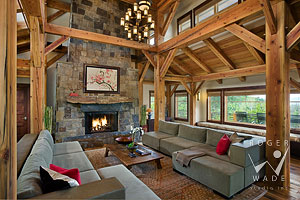 contemporary asian designed living room of luxury mountain timber frame home