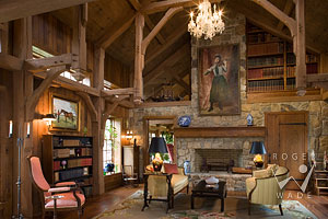 living room of rustic timber frame farm house