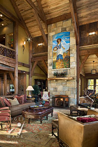 traditional timber frame living room towards fireplace and Robert Nelson fresco