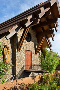 front entry with bridge to Our Lady of the Snows church in Ketchum, Idaho