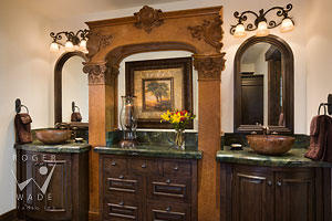 custom bathroom vanity detail, cabinetry by The Old World Cabinet Company