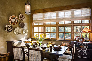breakfast nook of luxury mountain home with traditional interior design