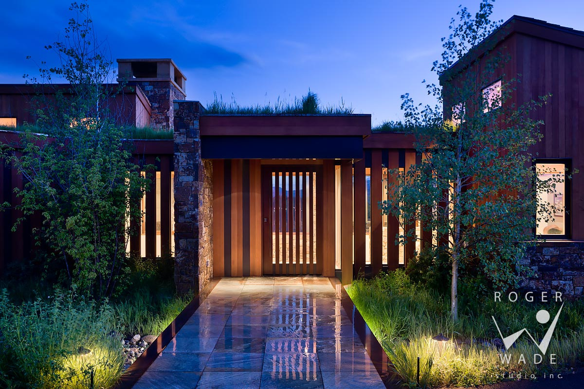 contemporary architectural photography, front entry at twilight, jackson, wy
