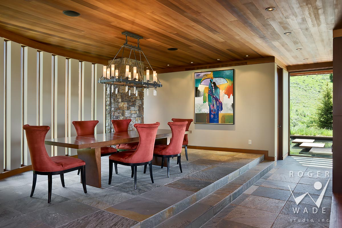 modern mountain interior design photography, dining room with john nieto painting, jackson, wy