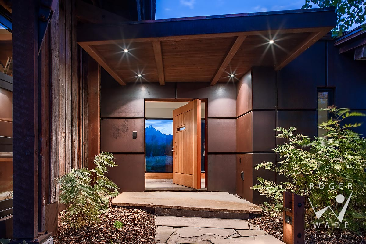 contemporary architectural photography, entry at twilight, jackson, wy