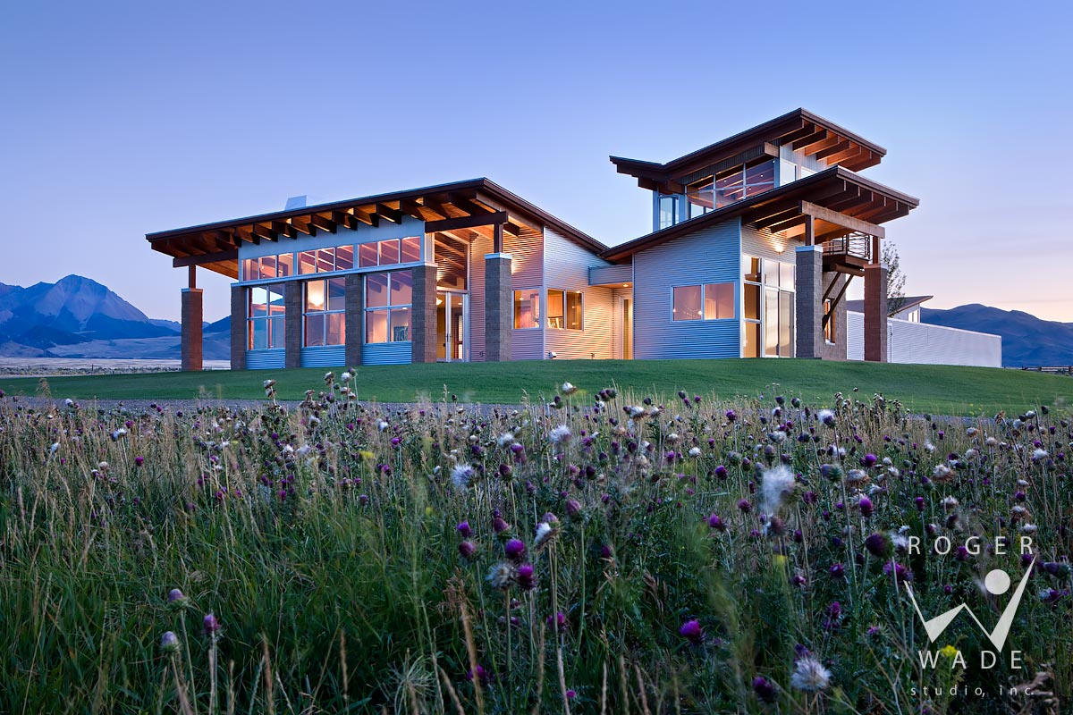 photography of contemporary architecture, overall view at twilight, pahsimeroi valley, id