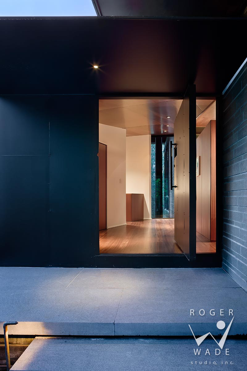 modern architectural photography, front entry at twilight, highlands, nc