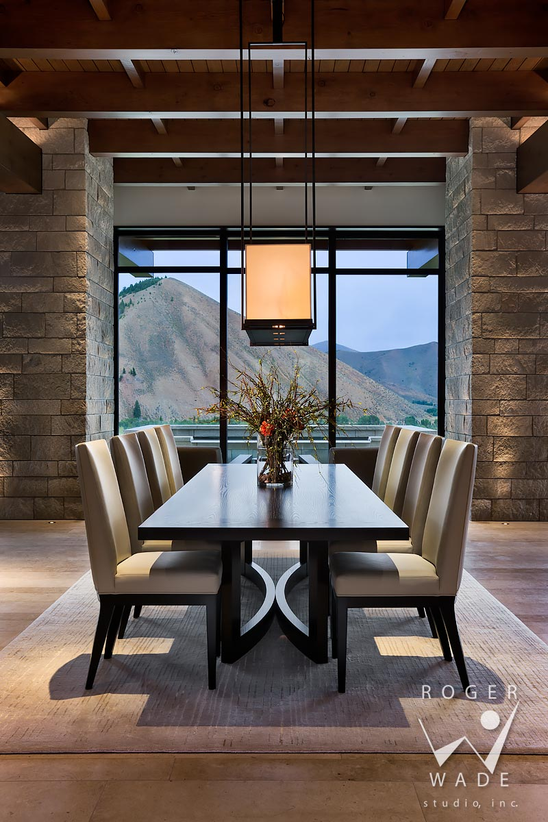 modern mountain interior photography, dining room looking out windows to mountain view, ketchum, id