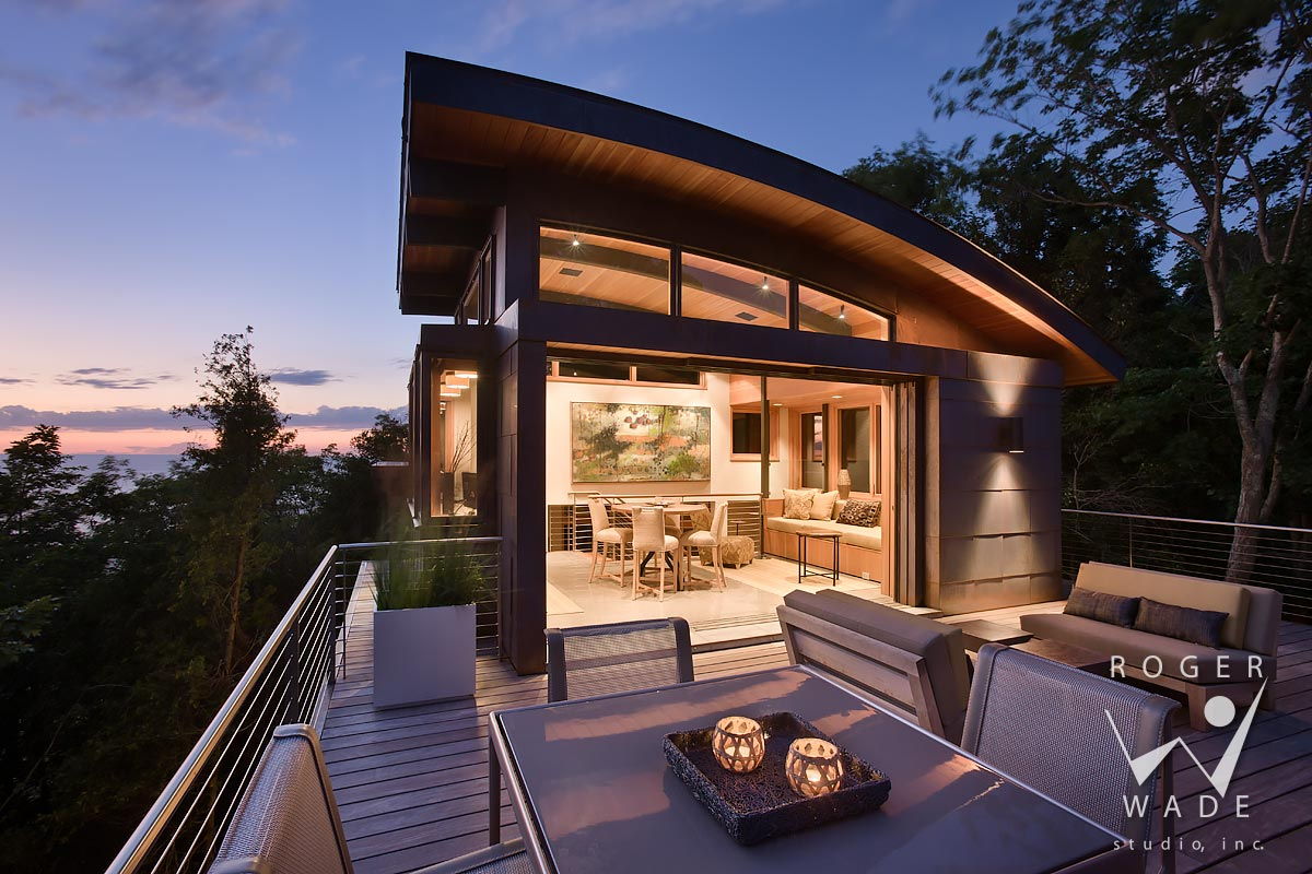 image of contemporary architecture, roof top deck and lounge looking out to lake michigan at twilight, whitehall, mi