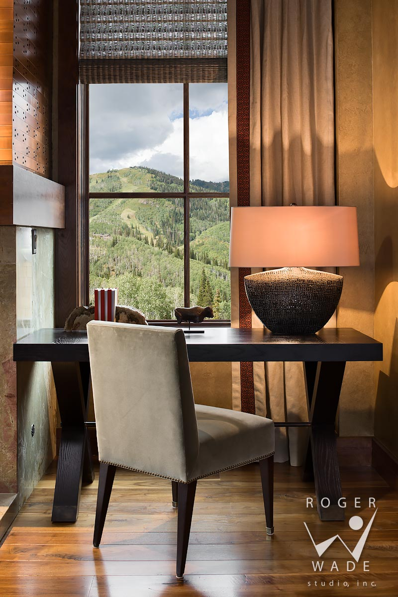 contemporary interior stock image, living room desk vignette, deer valley, ut