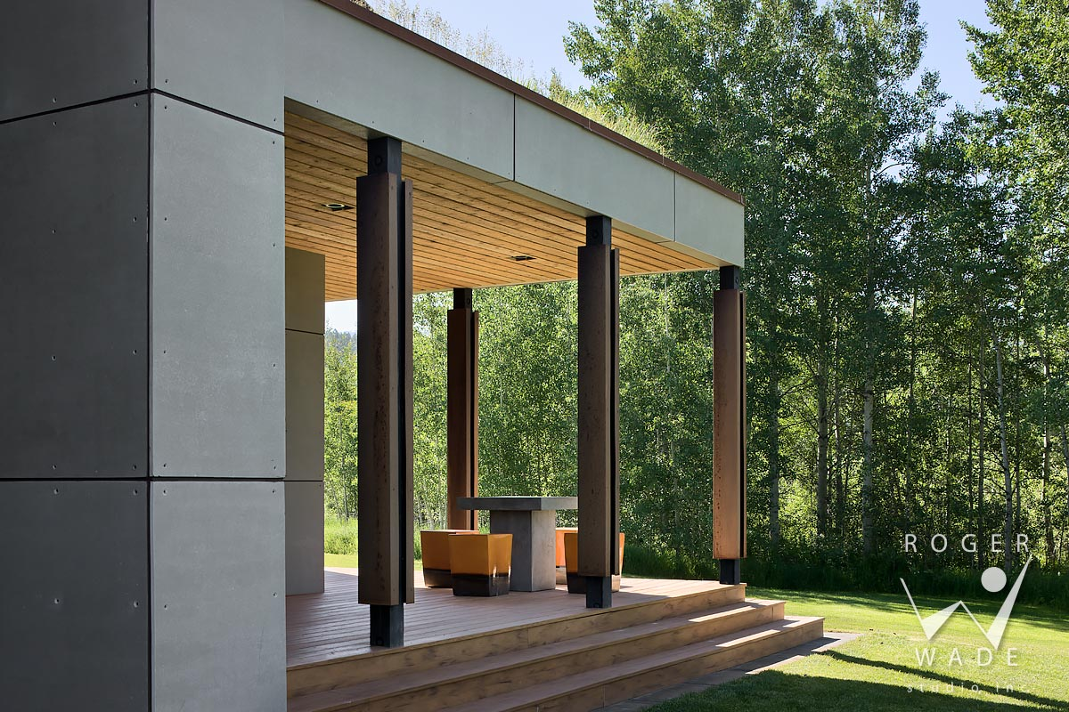 contemporary architecture stock photo, view of porch with sod roof, alta, wy
