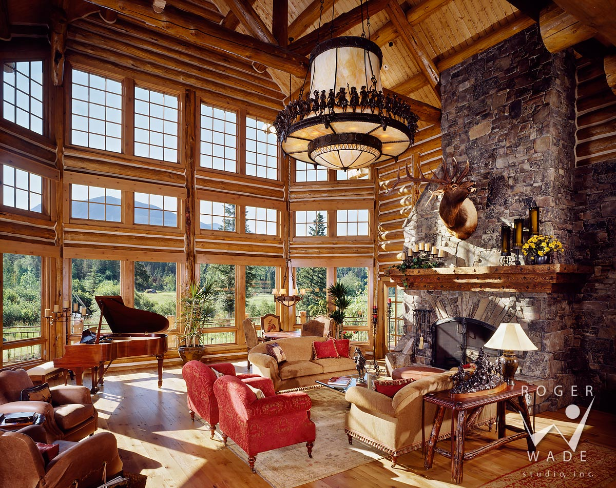 Photography Of Luxury Log Home Lodge, Great Room Looking Out Windows,  Bigfork, Mt