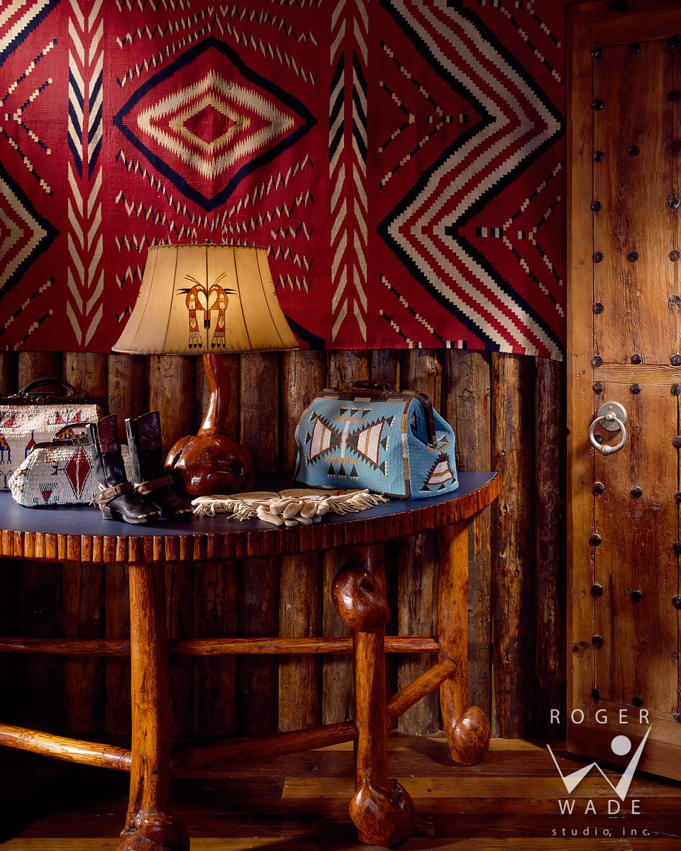 log cabin photography, vignette of burlwood furniture and western decor, jackson, wy