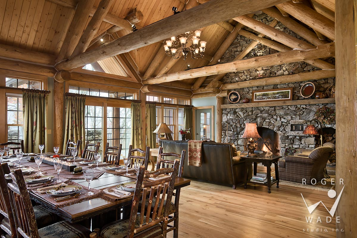 log home image, dining room and living room toward fireplace, sylva, nc