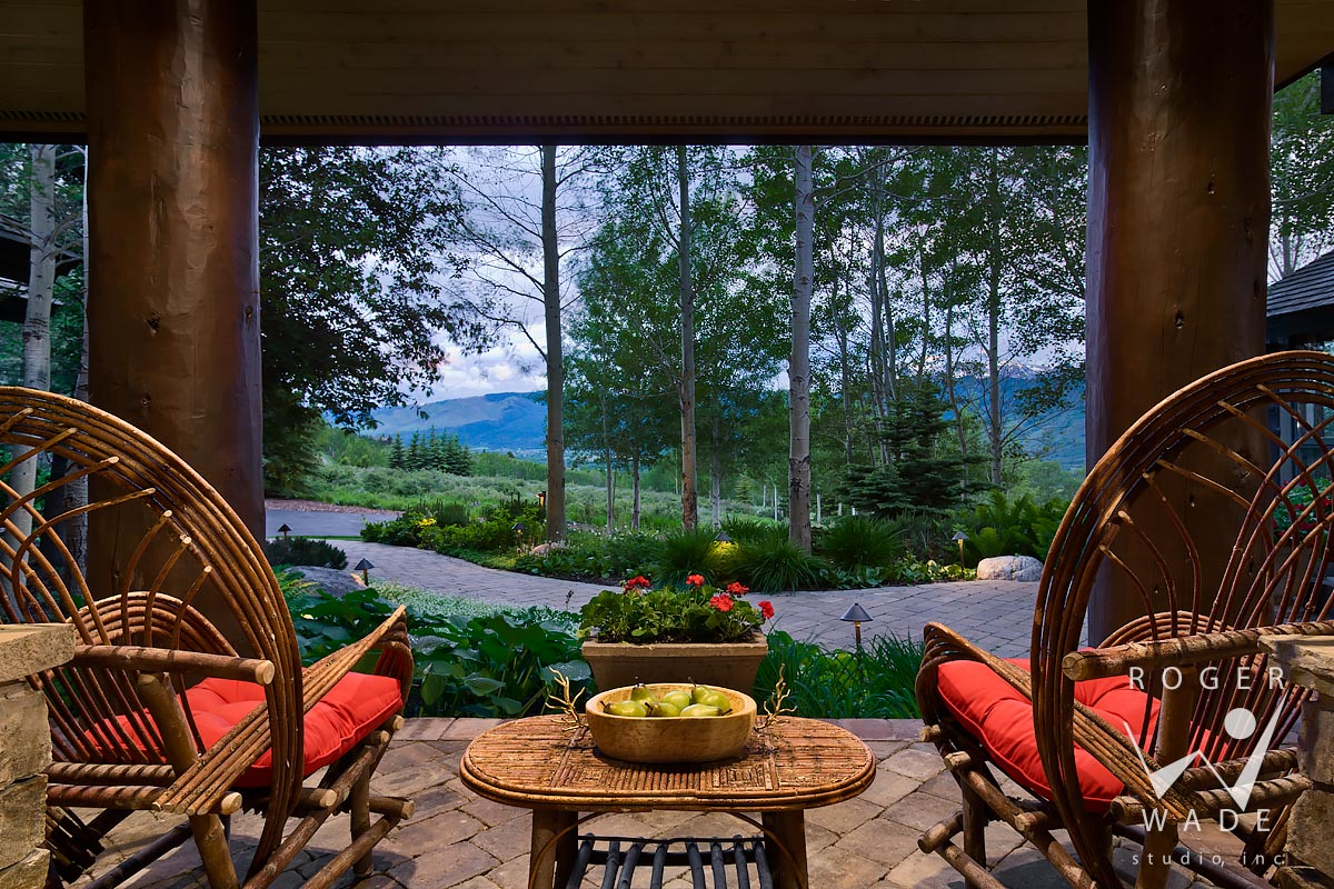 Log Home Photography, Front Patio Looking Out To Garden View At Twilight,  Jackson,