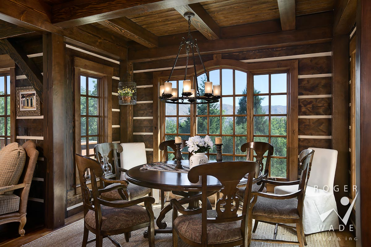 stock photo of breakfast nook in log home, pocatello, id