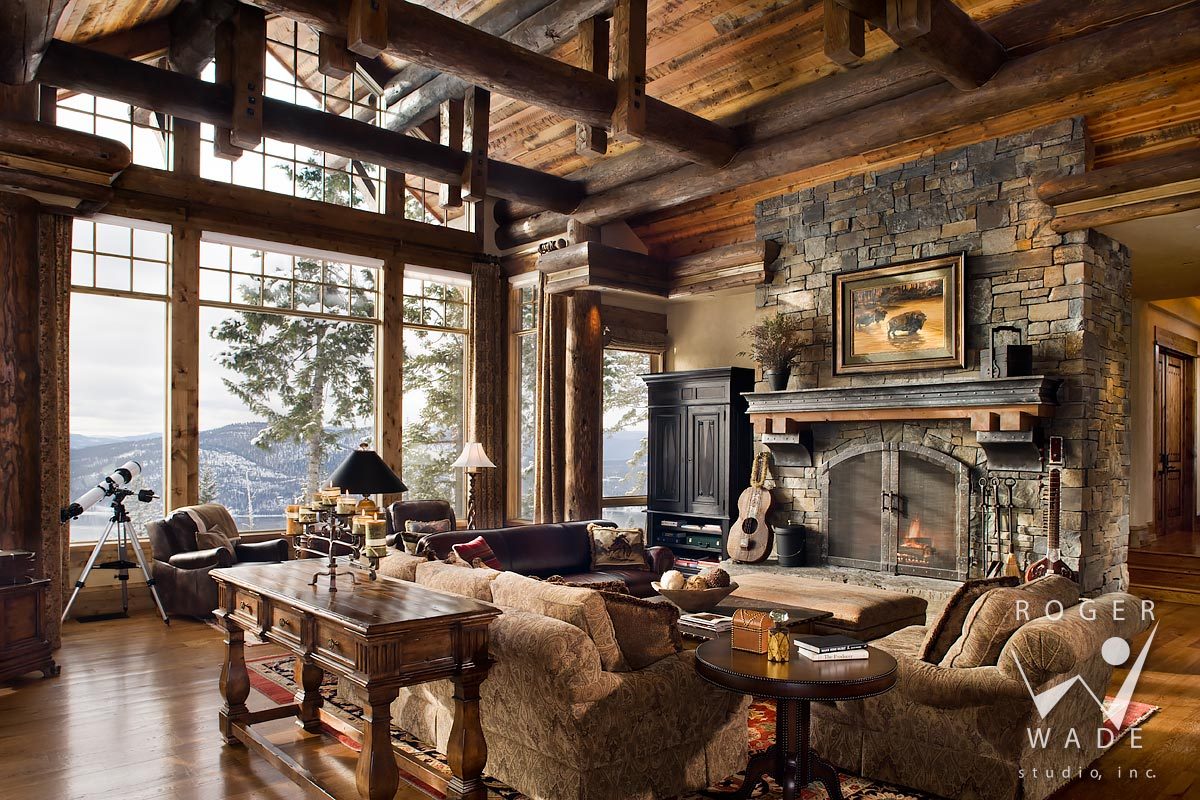 Log Home Photo, Great Room Towards Fireplace And Windows, Whitefish, Mt