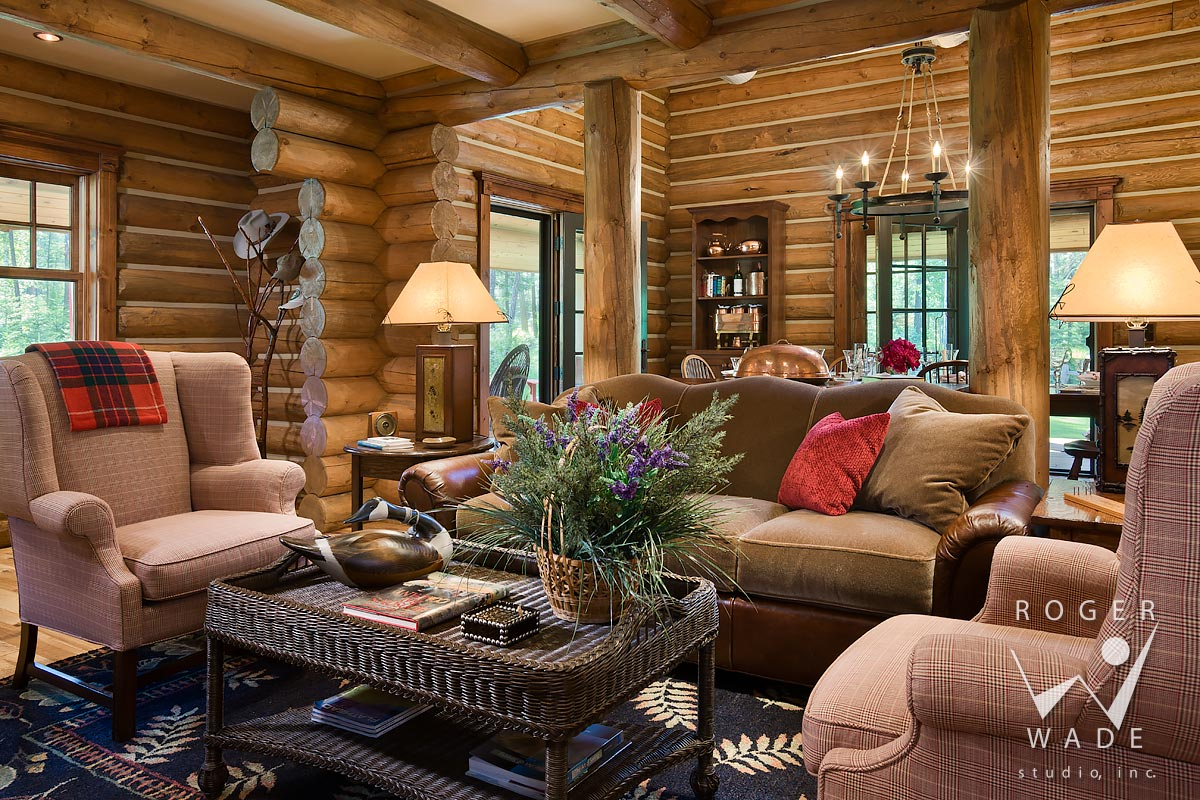 log cabin stock photo, living room toward dining room, ferndale, mt