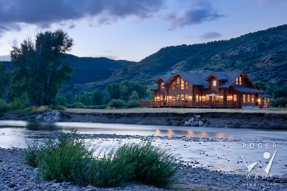 log home photography, twilight view from across yampa river, milner, co
