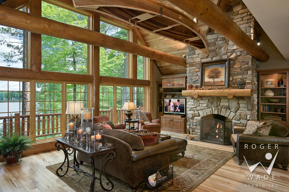 Log Home Photo, Living Room Toward Fireplace, Looking Out To Lower  Kaubeshine Lake,