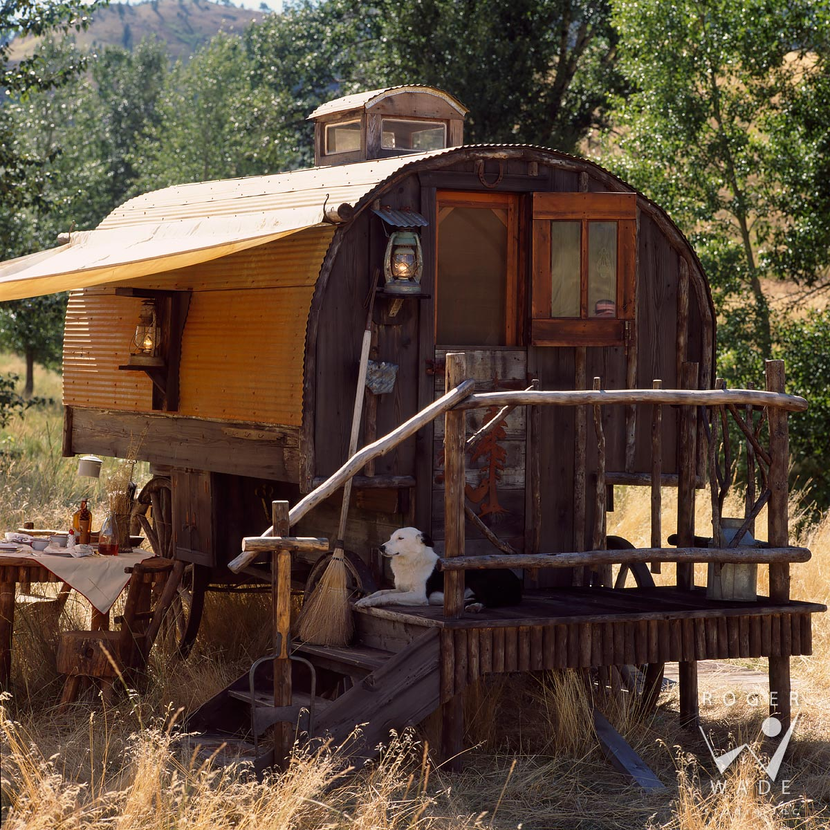 roger wade studio architectural digest photography of rustic sheepherder wagon, big timber, montana, photographed for architectural digest