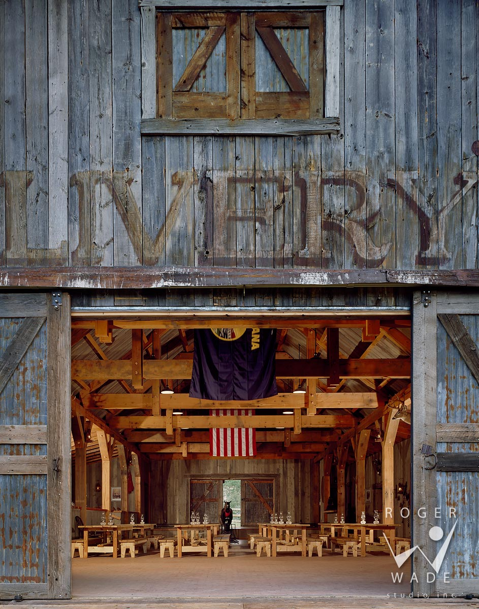 roger wade studio rustic architectural photography, entrance to livery through barn doors, deadrock, clyde park, montana, by fullerton architects