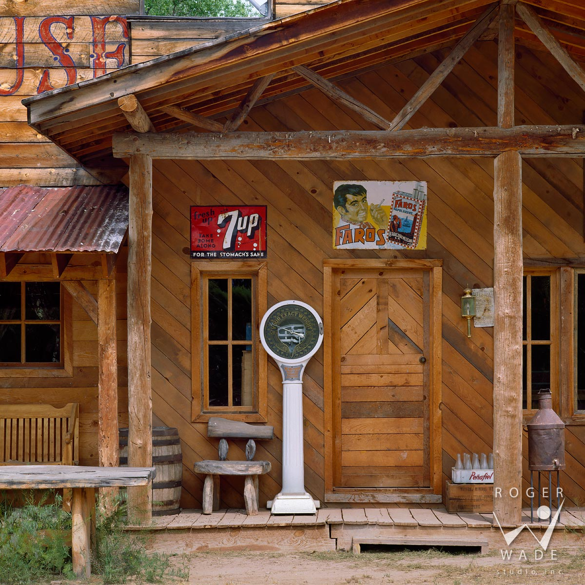 roger wade studio rustic architectural photography of general store detail, juan gabriel ranch, santa fe, new mexico, photographed for cowboys & indians magazine