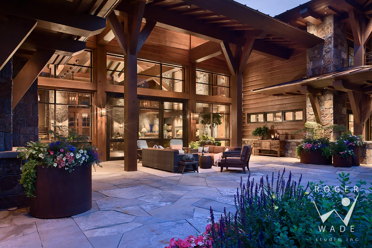 rear patio looking into living room at twilight, ketchum, id