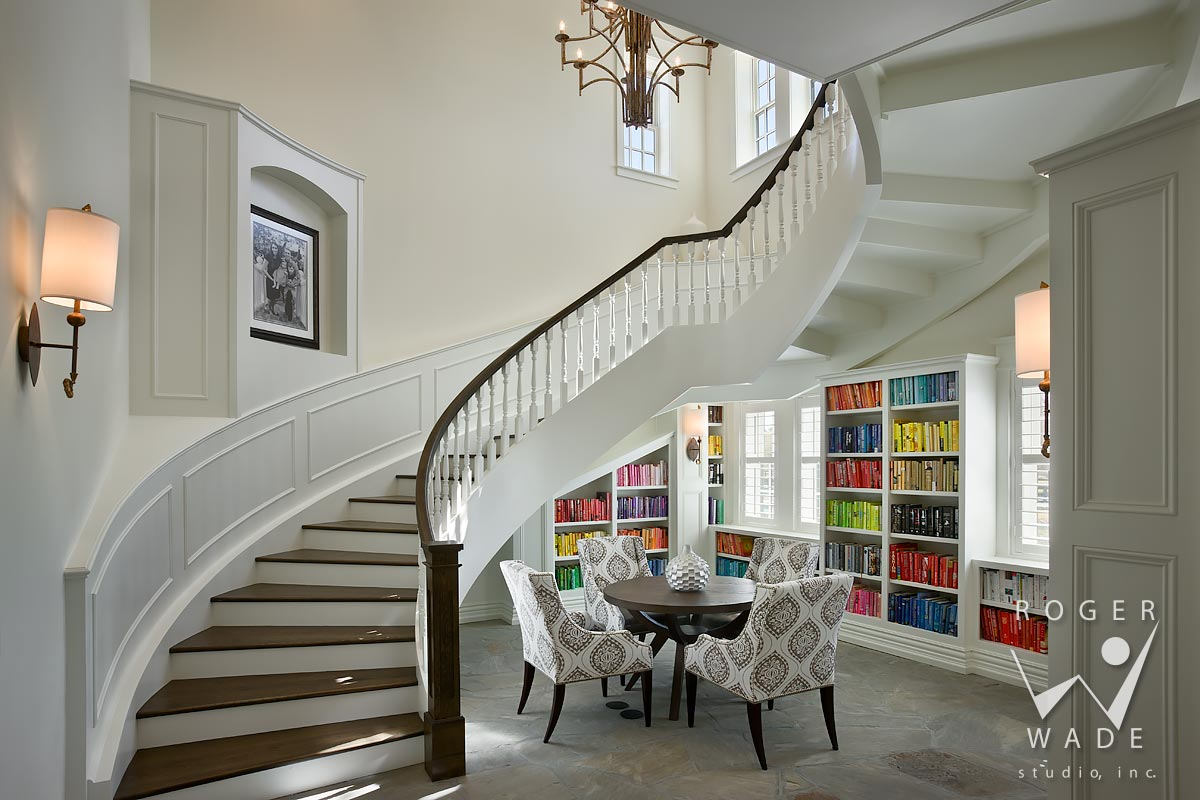 luxury interior photography, traditional curved stairway and home library, chuluota, fl