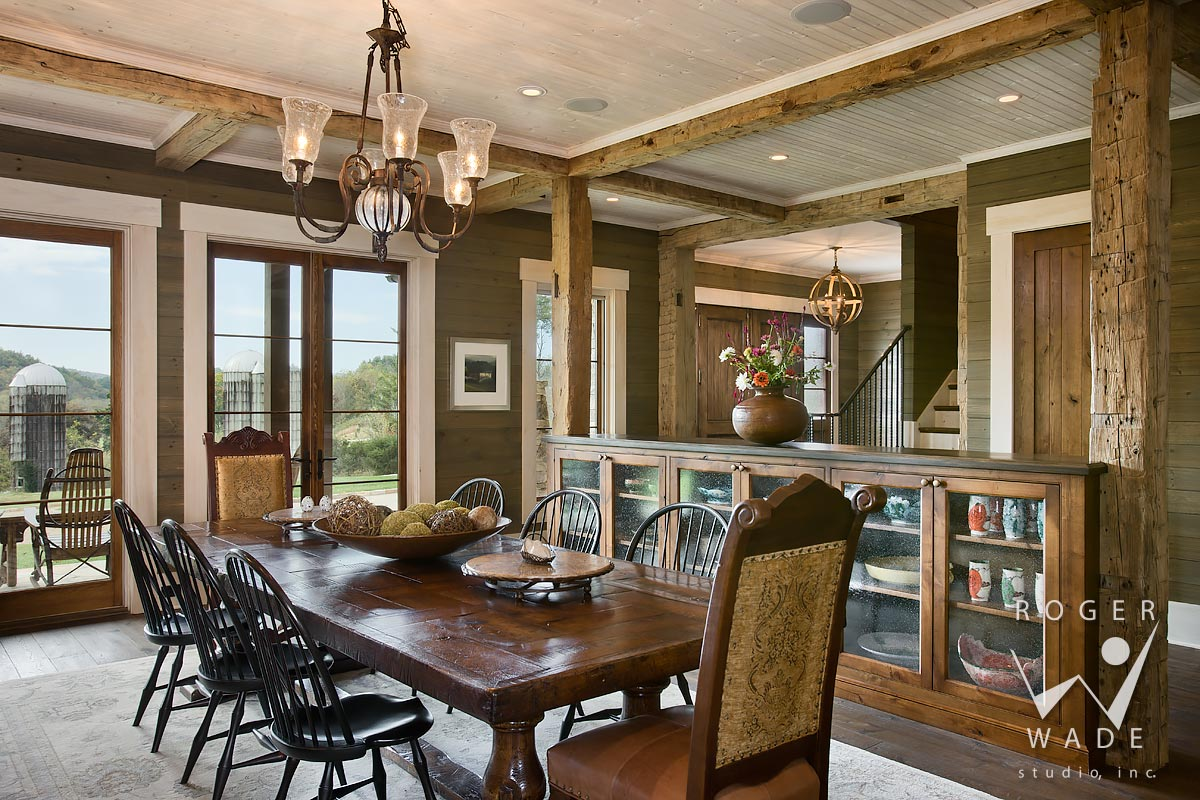 traditional residential design stock photo, dining room, mills river, nc