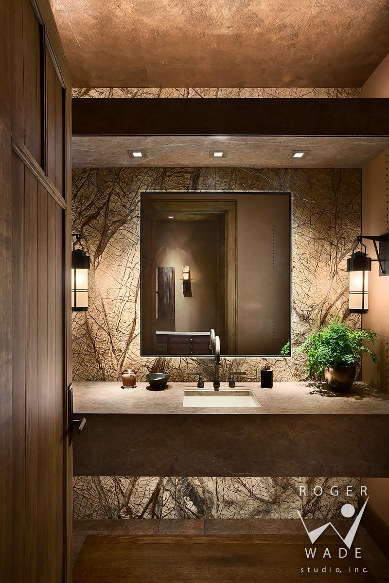 traditional interior design stock photography, luxury powder room, ketchum, id