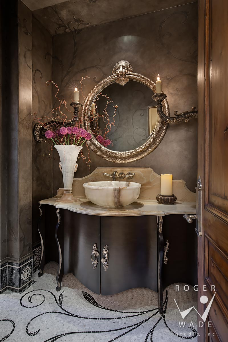 traditional interior design stock photo, luxury powder room, ketchum, id
