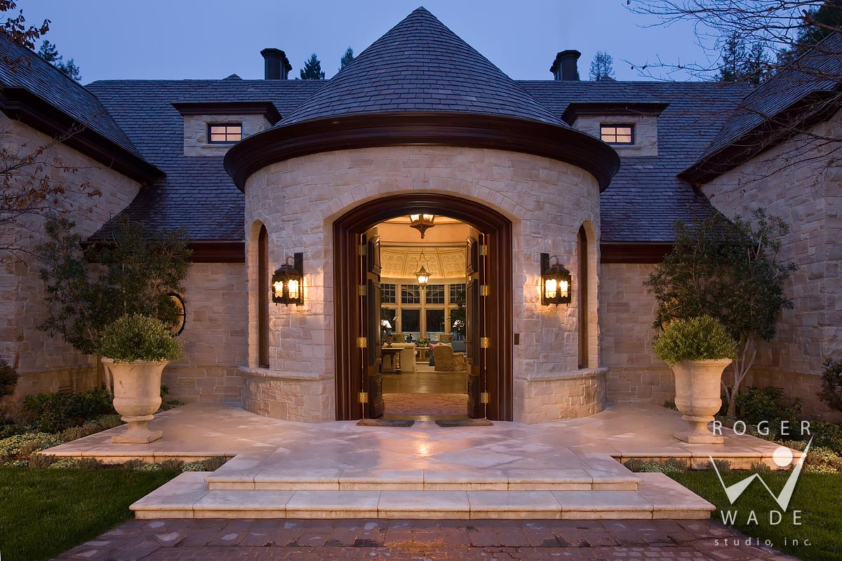 traditional architectural photography, entry detail at twilight, atherton, ca