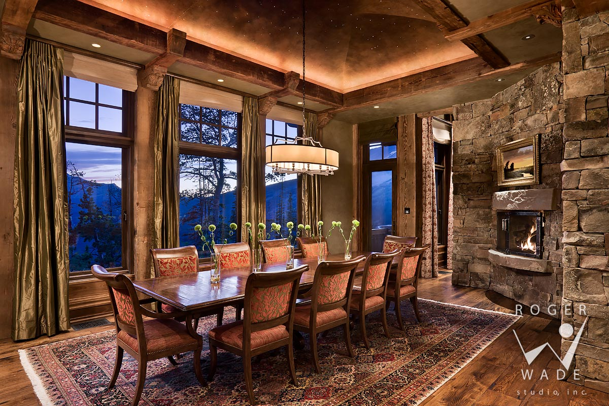 traditional interior design image, dining room at twilight with fiber optic lighting, yellowstone club, mt