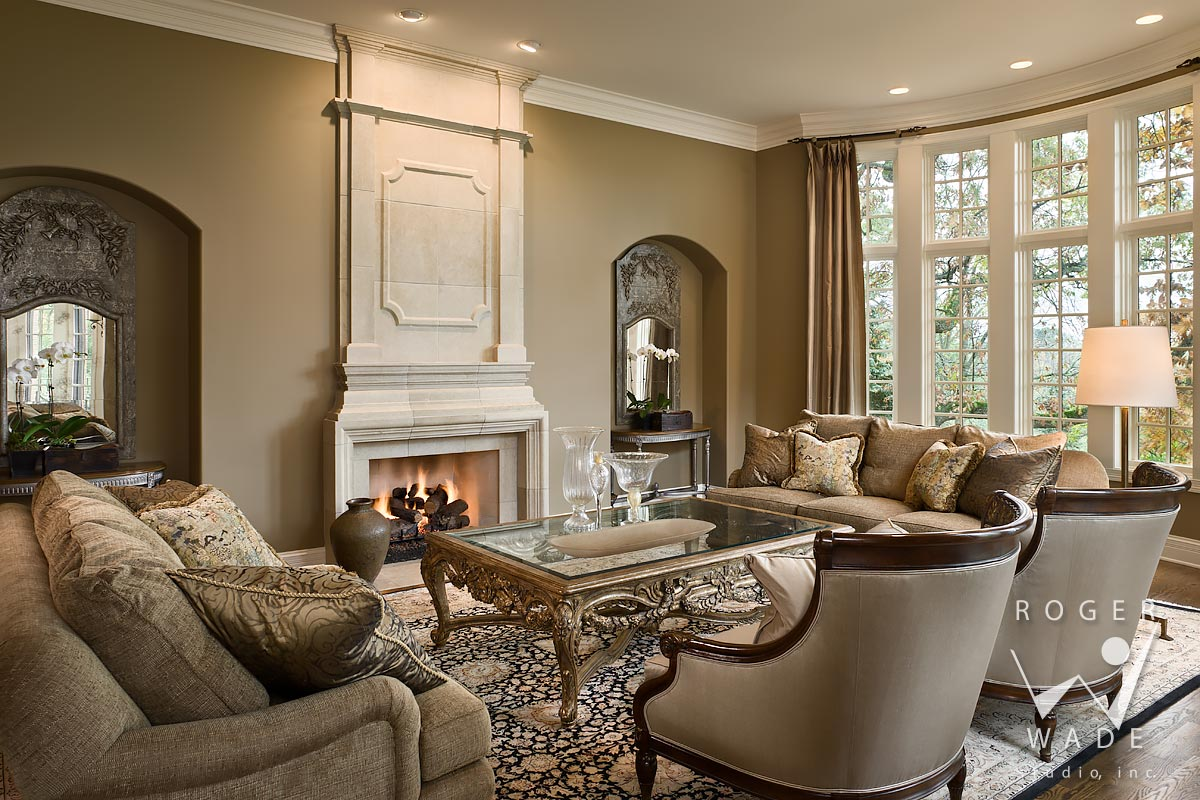 traditional interior design photography, living room toward fireplace and windows looking out to fall color, long grove, il