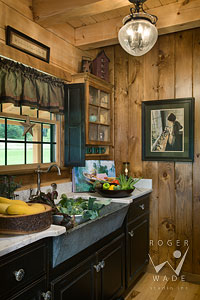 pantry and kitchen sink vignette in country styled milled log home